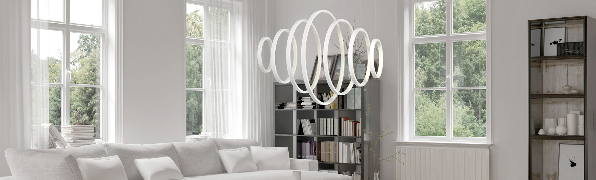 Modern lighting in a living room